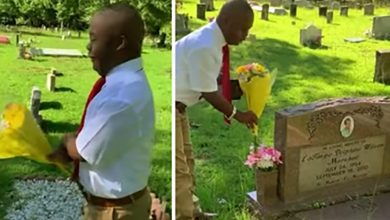 """Photo of This Boy With Special Needs Tells His Mom """"I did it. I graduate"""" At Her Grave."""