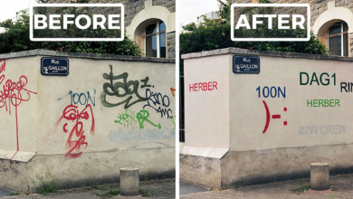 Photo of Guy Paints Over Ugly Graffiti Tags To Make It Legible