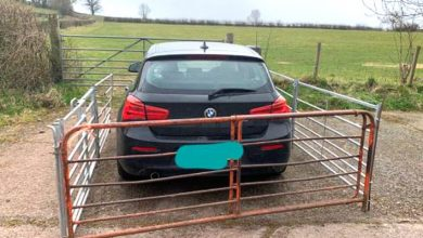 Photo of A Tourist Leaves His Car In Front Of A Field Barrier. The Farmer Takes Revenge By Fencing It.